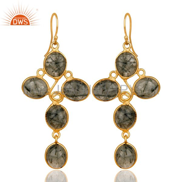 Suppliers Natural Black Rutilated Quartz Earrings Made In 18k Gold Over Brass