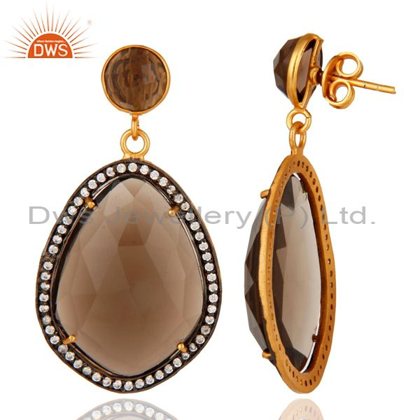 Suppliers Smoky Quartz Prong Set Designer Gemstone Earrings In 22K Gold Over Brass Jewelry
