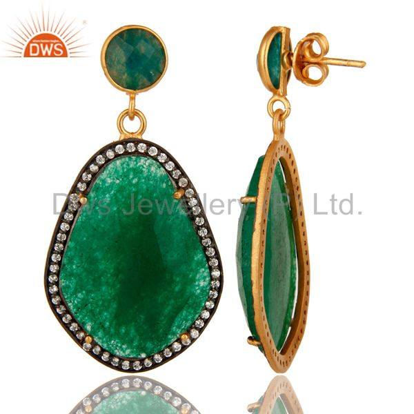 Suppliers 18K Yellow Gold Plated Green Aventurine Prong Set Dangle Earrings With CZ