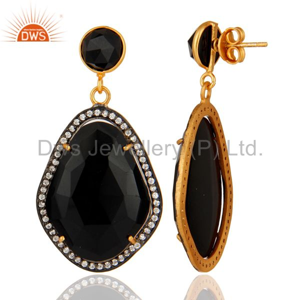 Natural Black Onyx And CZ Drop Earrings in 18K Yellow Gold Plated Over Brass From Jaipur India
