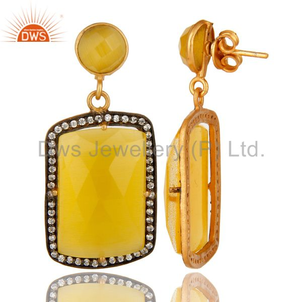 Suppliers 18K Yellow Gold Plated Yellow Moonstone Prong Set Dangle Earrings With CZ
