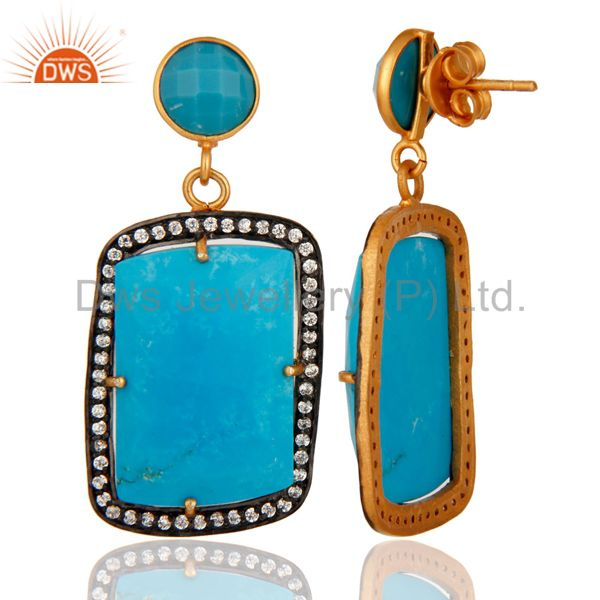 Turquoise Gemstone Prong ting 18K Gold Plated Earrings With Zircon From Jaipur India