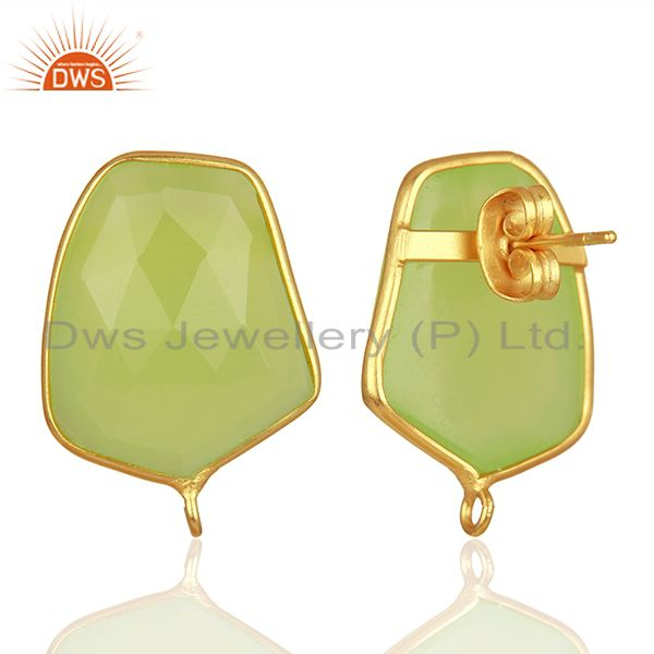 Suppliers 18K Yellow Gold Plated Prehnite Chalcedony Stud Earring Connector Assesories