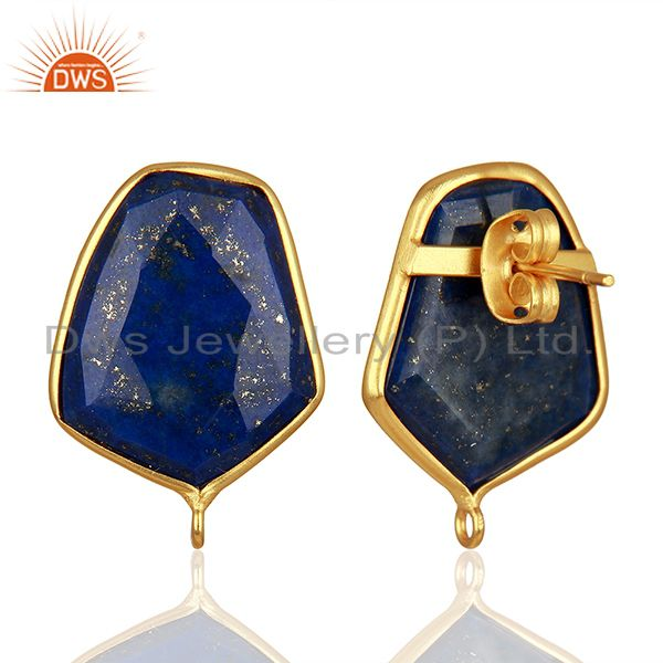 Suppliers 18K Yellow Gold Plated Lapis Lazuli Stud Earring Connector Assesories