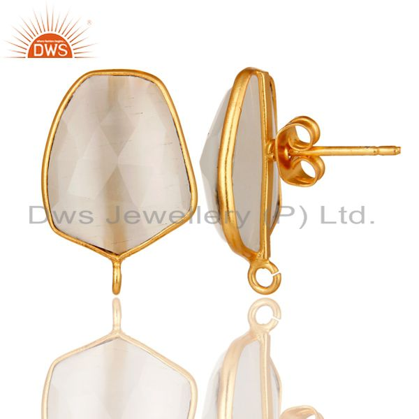 Suppliers 18K Yellow Gold Plated White Moonstone Stud Earring Jewelry Assesories