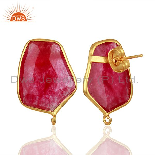 Suppliers 18K Yellow Gold Plated Natural Red Aventurine Stud Earring Connector Assesories