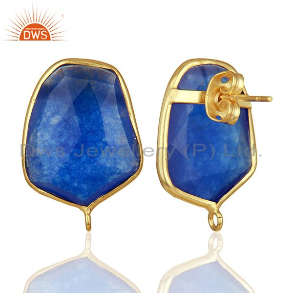 Suppliers 18K Yellow Gold Plated  Blue Aventurine Stud Earring Connector Assesories