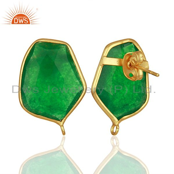 Suppliers 18K Yellow Gold Plated Natural Green Aventurine Stud Earring Jewelry Assesories
