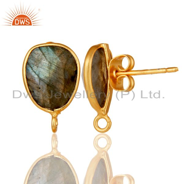 Suppliers 18K Yellow Gold Plated Labradorite Stud Earring Jewelry Assesories Findings