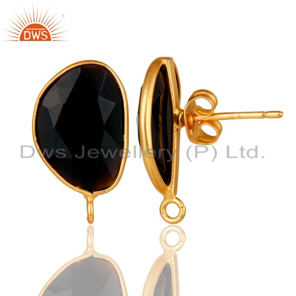Suppliers 18K Yellow Gold Plated Black Onyx Stud Earring Jewelry Assesories Findings