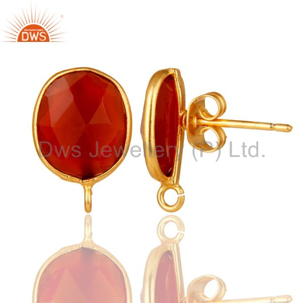 Suppliers 18K Yellow Gold Plated Red Onyx Stud Earring Jewelry Assesories Findings