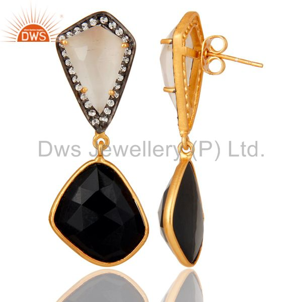 Suppliers White Moonstone Black Onyx and White CZ 18K Gold Plated Dangler Drop Earring