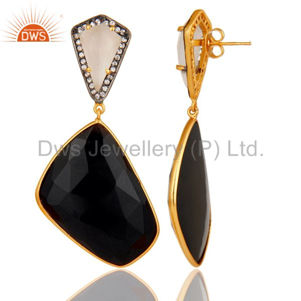 Moonstone Black Onyx and White CZ 18K Gold Plated r Drop Earring From Jaipur India