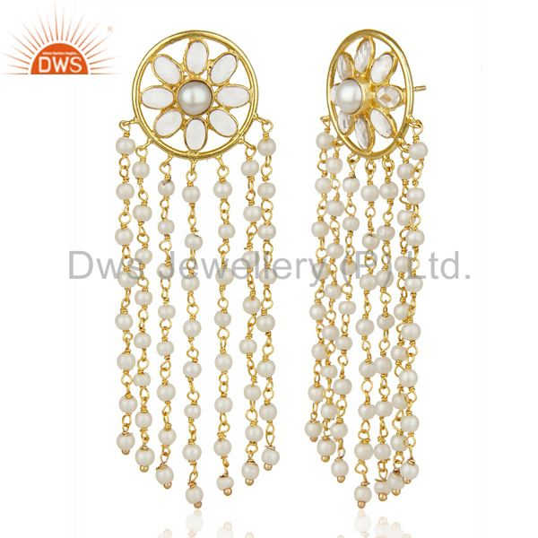 Suppliers 14K Yellow Gold Plated Traditional Handmade Pearl CZ Chandelier Earrings