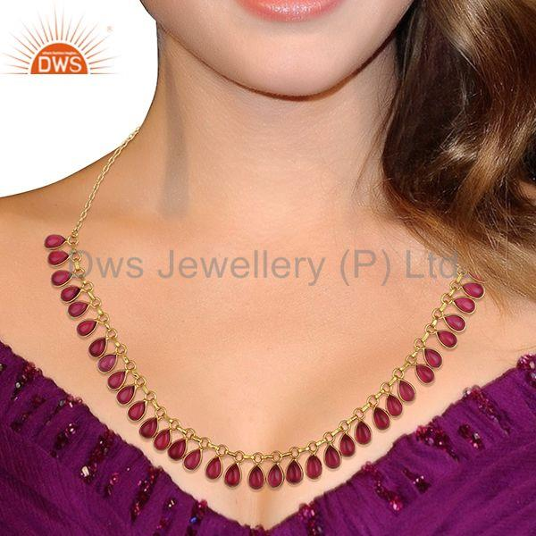 Suppliers Pink Gemstone Handmade Gold Plated Brass Fashion Necklace Manufacturer