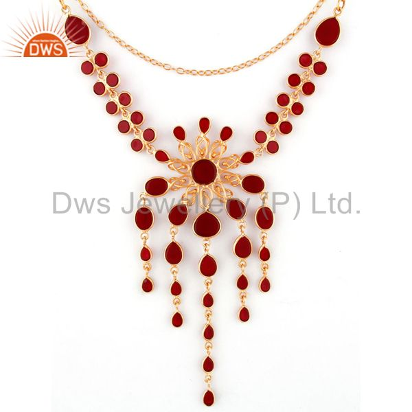 Suppliers 24k Yellow Gold Plated Glass Red Gemstone Handmade Designer Necklace Jewelry