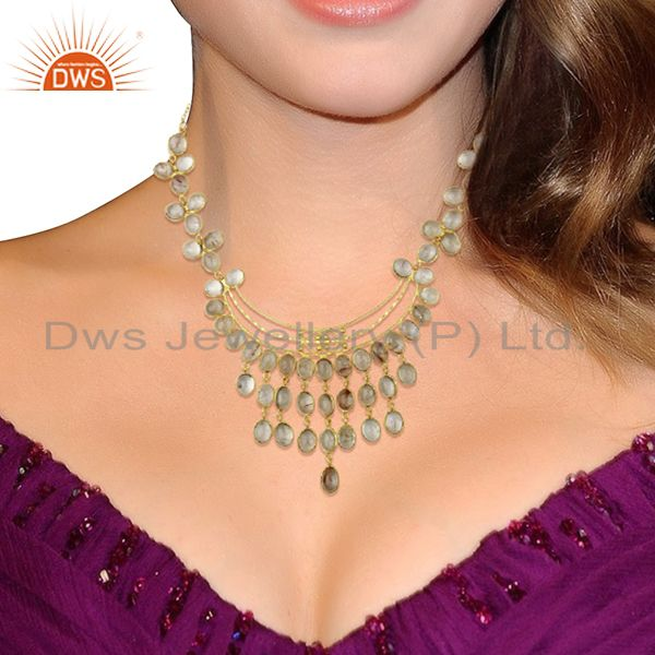 Suppliers Matte Finish Gold Plated Handcrafted Rutile Quartz Spiral Wire Necklace Jewelry