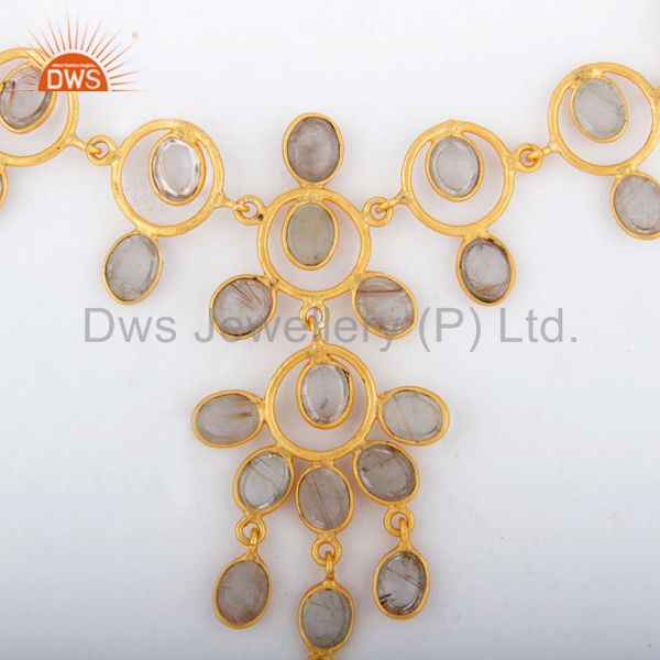 Suppliers Indian Solid Hand Hammered 18K Gold GP Rutilated Quartz Necklace Jewellery