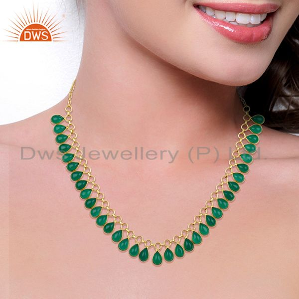 Suppliers full Neck Pattern Green Onyx Gemstone 14K Gold Plated Fashion Wholesale Necklace