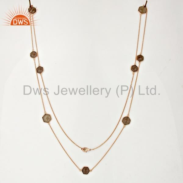 Suppliers Smoky Topaz Bezel Set Rose Gold Plated Brass Fashion Jewellery Long Necklace