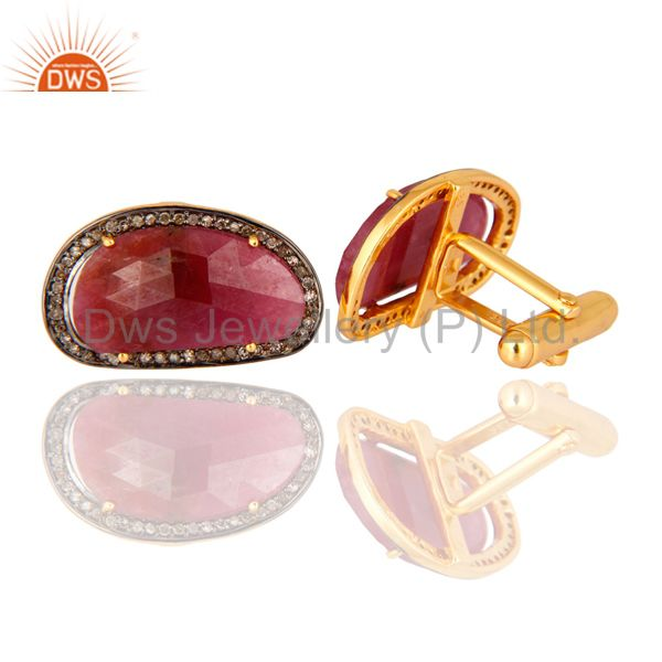 Suppliers Gold Plated Sterling Silver Ruby Gemstone Pave Diamond High Fashion Cufflinks