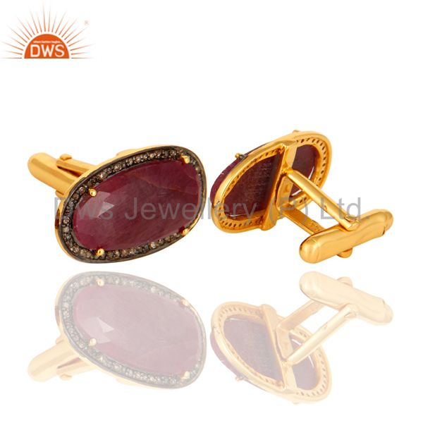 Suppliers 18K Gold Plated Sterling Silver Ruby Gemstone Diamond Cufflinks Mens Jewelry