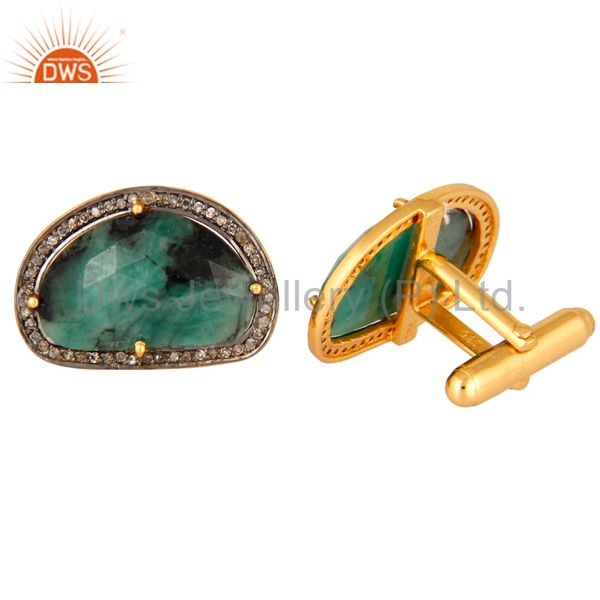 Suppliers 925 Sterling Silver Emerald Gemstone Pave Diamond Mens Cufflinks Jewelry