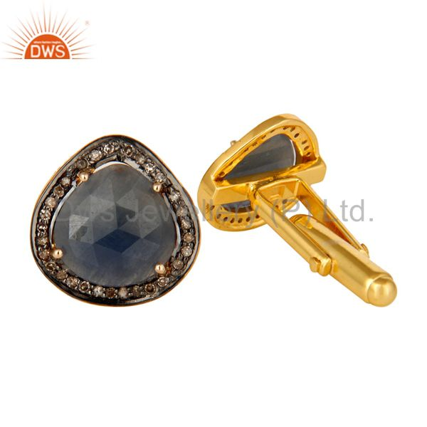 Suppliers 14K Yellow Gold And Sterling Silver Pave Diamond Blue Sapphire Cufflinks Jewelry