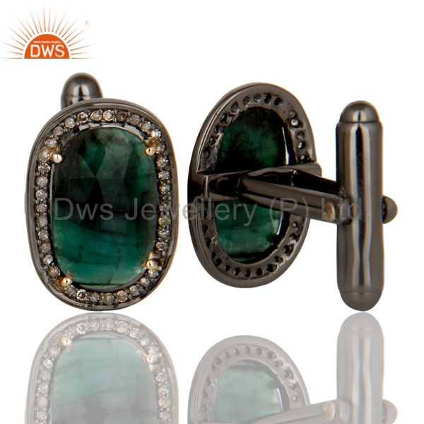 Suppliers 14K Solid Yellow Gold Pave Diamond And Emerald Gemstone High Fashion Cufflinks