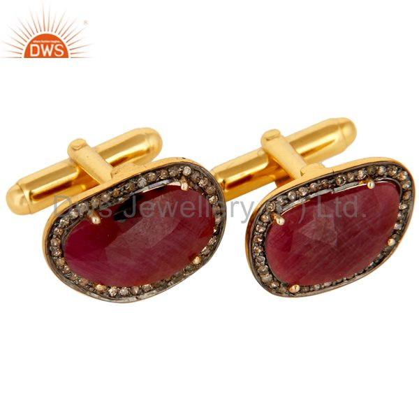 Suppliers 14K Solid Yellow Gold Pave Set Diamond And Ruby Gemstone Mens Cufflinks