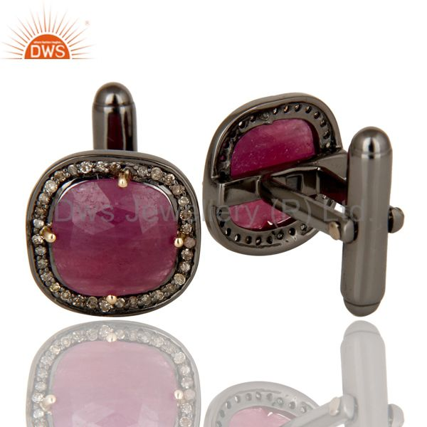 Suppliers 14K Solid Yellow Gold Pave Set Diamond And Ruby Sterling Silver Mens Cufflinks