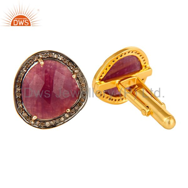 Suppliers 18K Gold Over Sterling Silver Pave Set Diamond And Ruby Gemstone Cufflinks