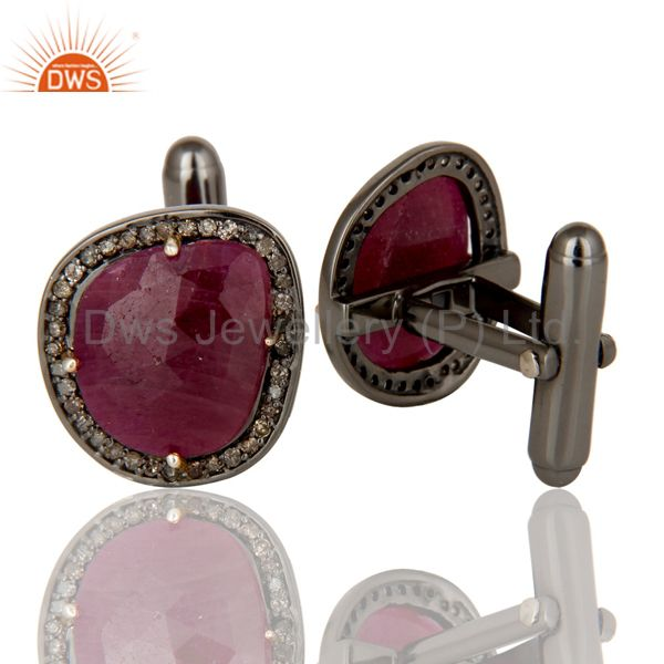 Suppliers Solid 14K Yellow Gold Pave Set Diamond And Ruby Gemstone Mens Cufflinks