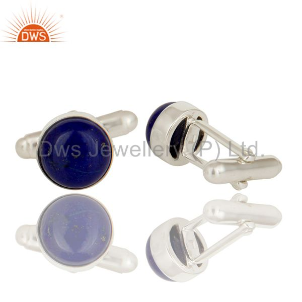 Suppliers Solid 925 Sterling Silver Lapis Lazuli Gemstone Cufflinks Mens Jewellery