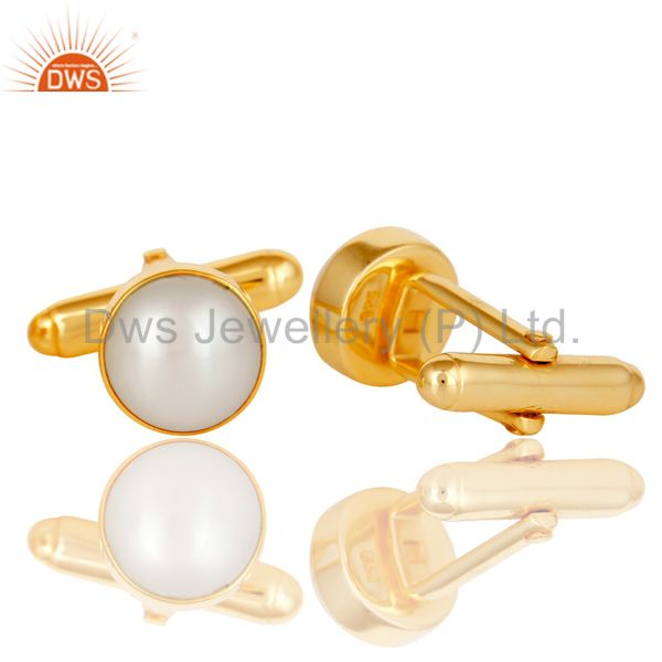 Suppliers Handmade Pearl 925 Sterling Silver Mens Fashion Cuff Links With Gold Plated