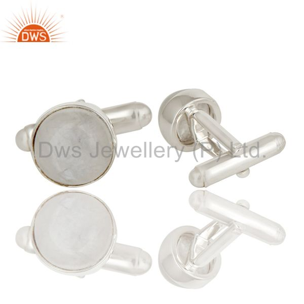 Suppliers Rainbow Moonstone Solid 925 Sterling Silver Mens Fashion Cuff Links Jewellery