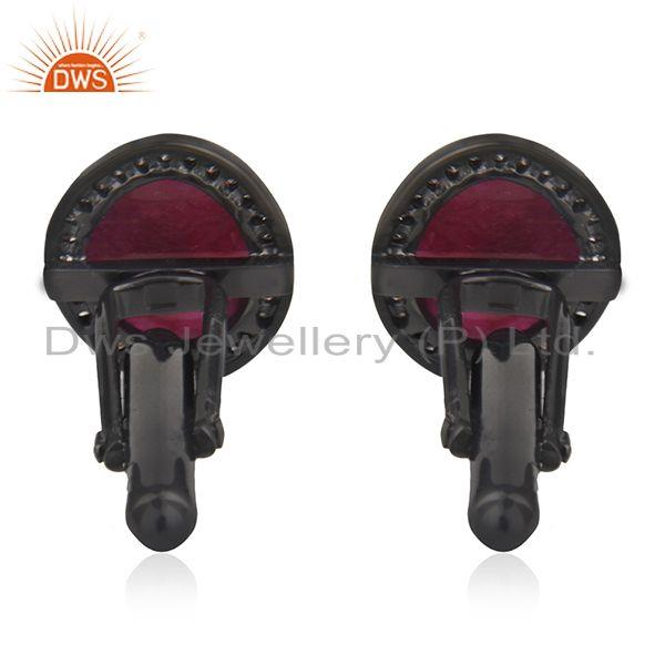 Suppliers Natural Ruby and Pave Diamond 925 Silver Cufflinks Jewelry for Mens