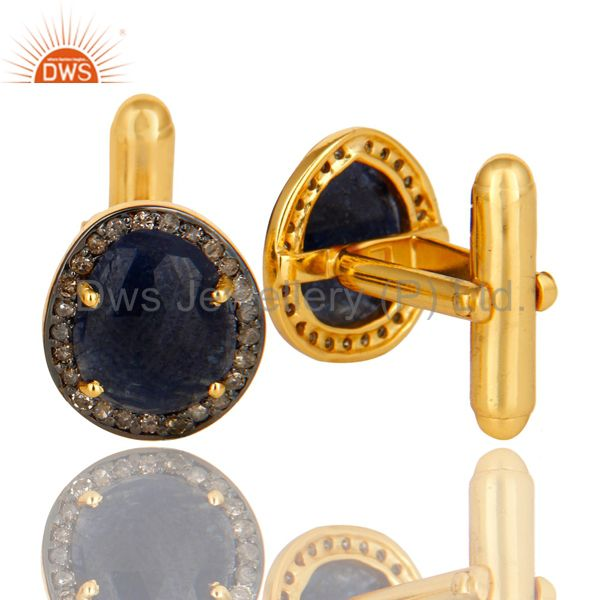 Suppliers 18K Yellow Gold Sterling Silver Pave Diamond And Blue Sapphire Cufflinks Jewelry