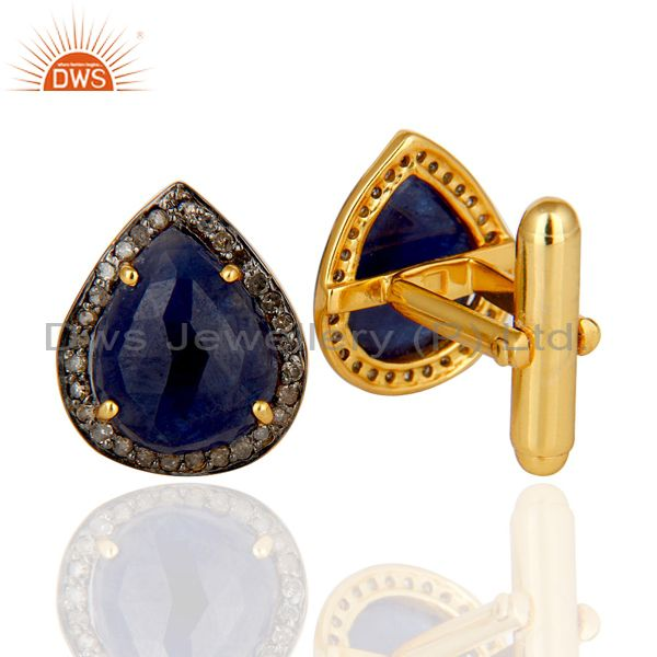 Suppliers Blue Sapphire and Pave Diamond 18K Gold Plated 925 Silver Cufflink Mens Jewelry