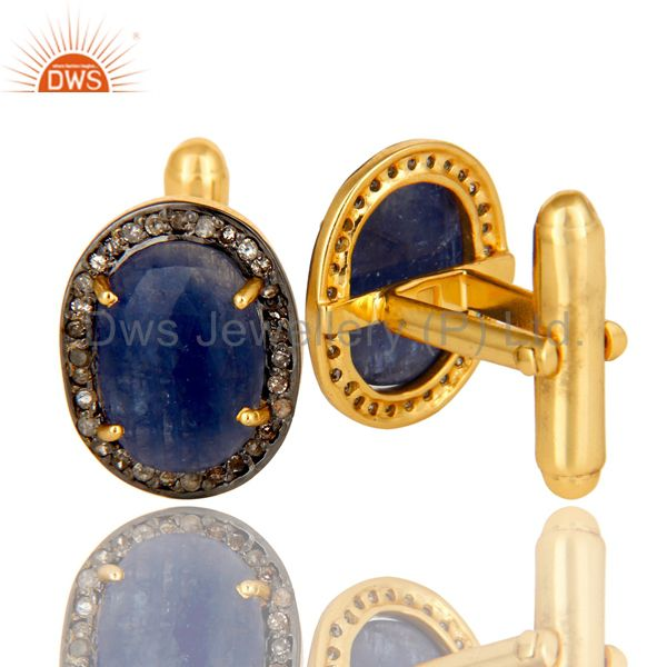 Suppliers 14K Yellow Gold Sterling Silver Pave Diamond And Blue Sapphire Cufflinks Jewelry