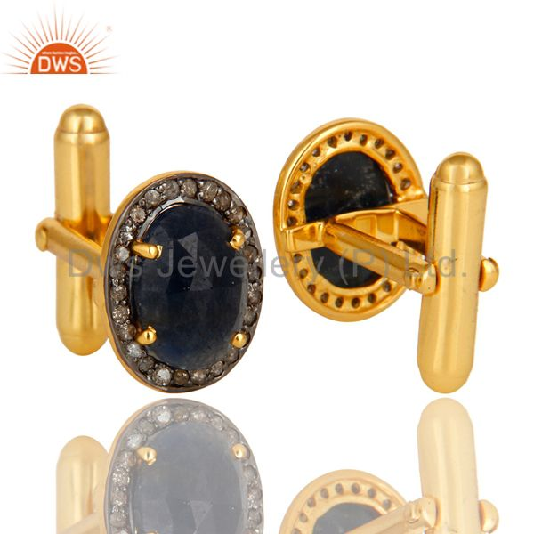 Suppliers Pave Diamond And Blue Sapphire Cufflinks Made In 18K Yellow Gold Sterling Silver
