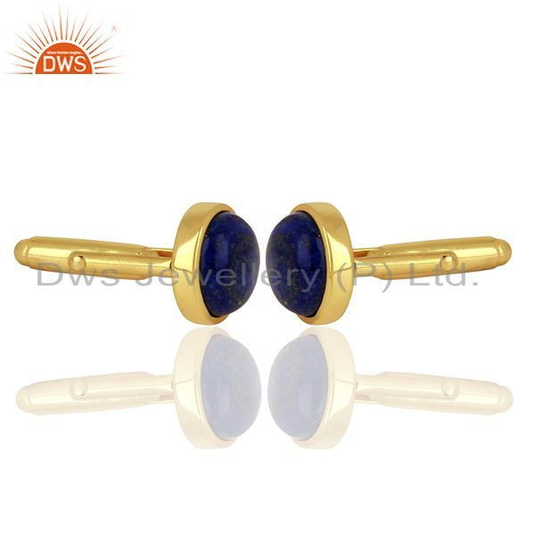 Suppliers Yellow Gold Plated  Lapis Gemstone Mens Cufflink Jewelry Manufacturer