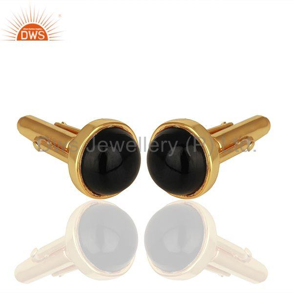 Suppliers Gold Plated Black Onyx Gemstone Cufflinks jewelry Finding manufacturer