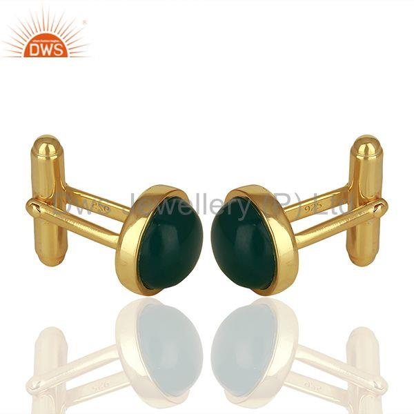 Suppliers Handmade 925 Silver Green Onyx Gemstone Cufflink Jewelry Findings