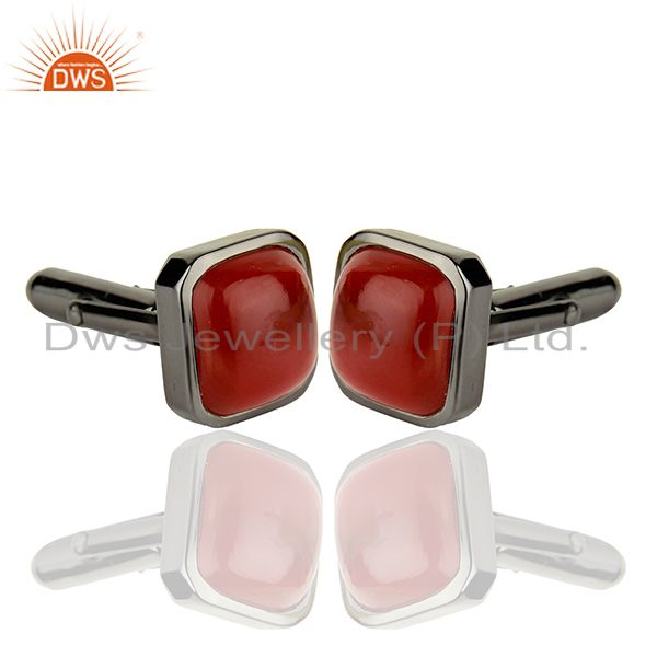 Suppliers Rhodium Plated Carnelian Gemstone Silver Cufflink Manufacturer Jewelry