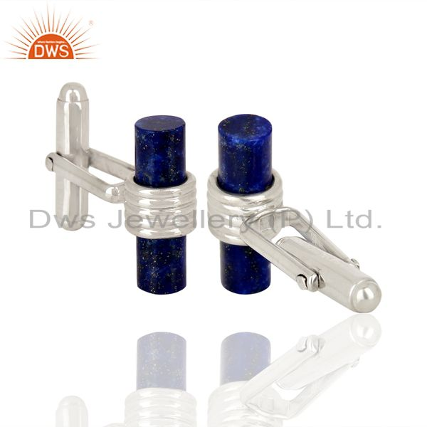 Suppliers Lapis Lazuli Cuff LInk White Rhodium Sterling Silver Gemstone Jewelry Findings