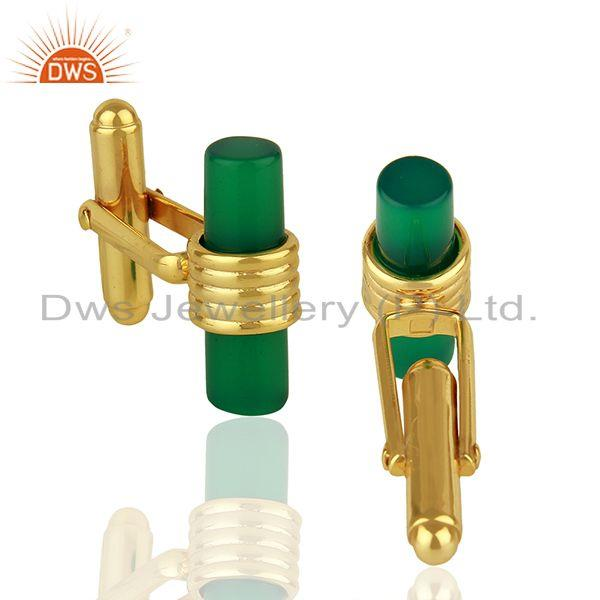 Suppliers Natural Green Onyx Gemstone Gold Plated Silver Mens Cufflink Supplier