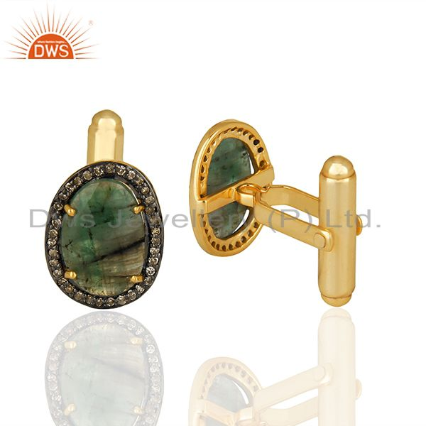 Suppliers Natural Emerlad Gemstone Pave Diamond 925 Sterling Silver Gold Plated Cufflinks