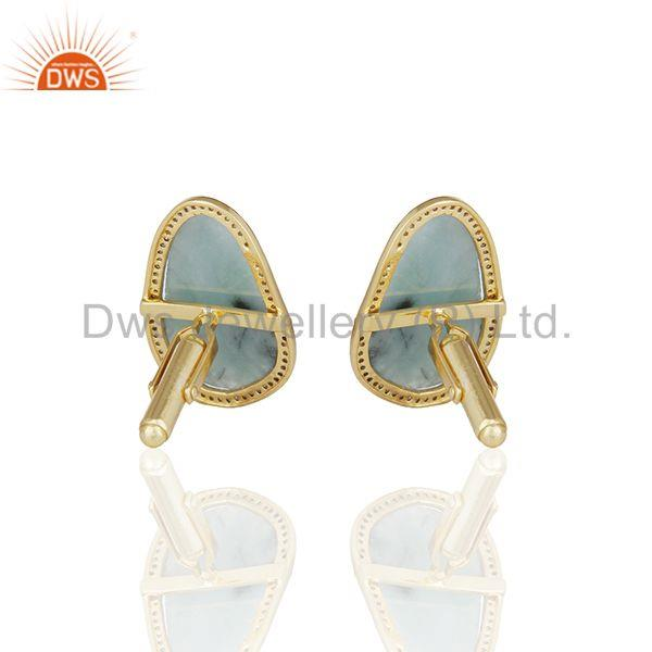 Suppliers Mens Jewellery Pave Diamond and Emerald Gemstone Gold Silver Cufflink Supplier