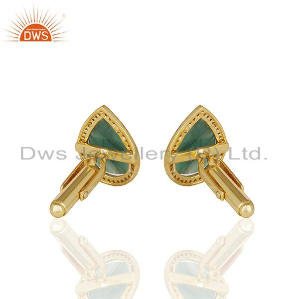 Suppliers Natural Emerald and Pave Diamond Mens Cufflink Jewelry Manufacturer from India